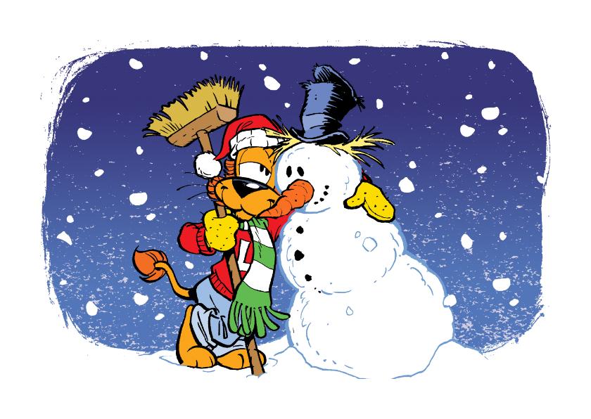 Kerstkaarten - Kerst Loeki en vriendje sneeuwpop