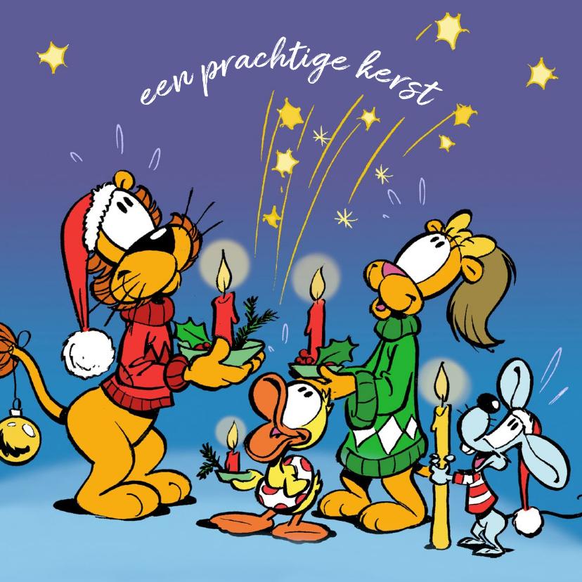 Kerstkaarten - Kerst Loeki met vriendjes en kaarsjes