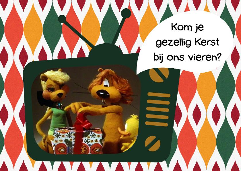 Kerstkaarten - Kerst Loeki tv uitnodiging  -A