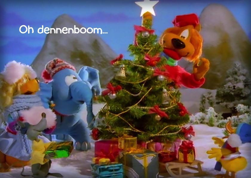 Kerstkaarten - Kerst Loeki vrienden boom piek A