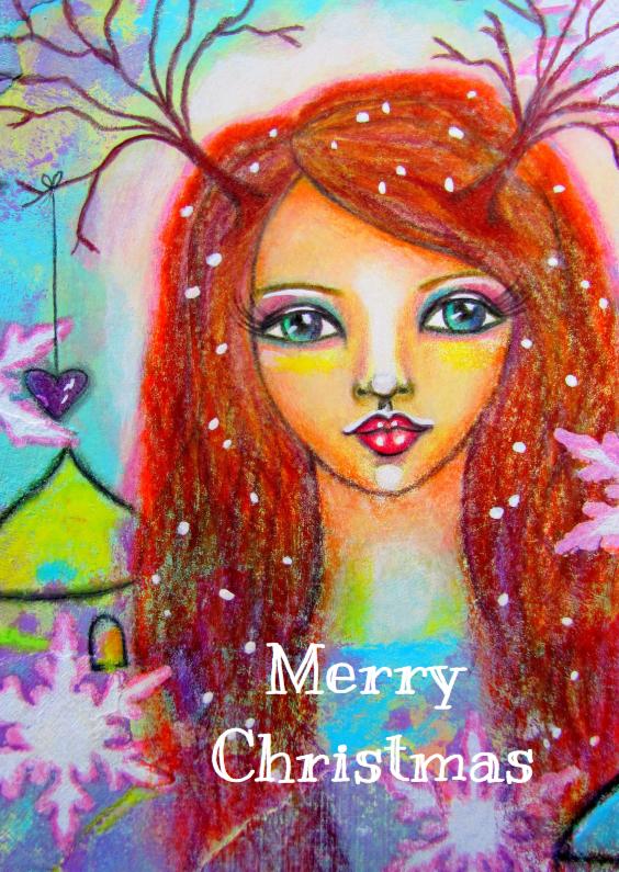 Kerstkaarten - Kerst Meisje in de sneeuw - AS