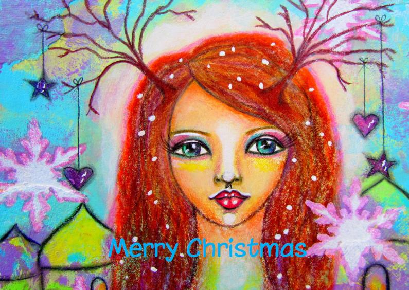 Kerstkaarten - Kerst Meisje met hartjes - AS