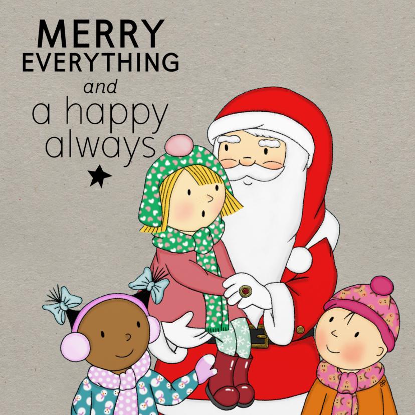 Kerstkaarten - Kerst Meisjes en Santa - TbJ