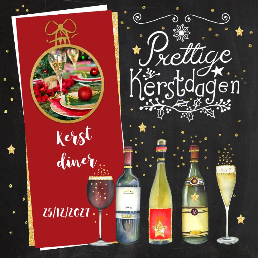 Kerstkaarten - Kerst menukaart diner wijn