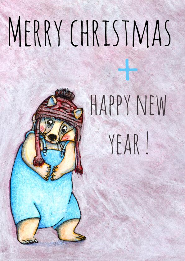 Kerstkaarten - kerst-merry and happy-KK