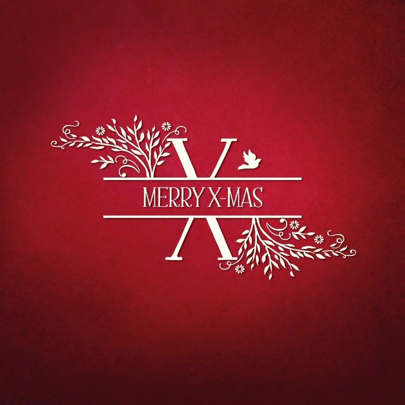 Kerstkaarten - Kerst Merry X-Mas chique X rood