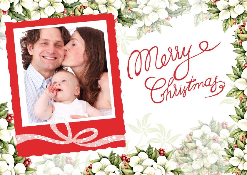 Kerstkaarten - Kerst met mooie kerstbloemen