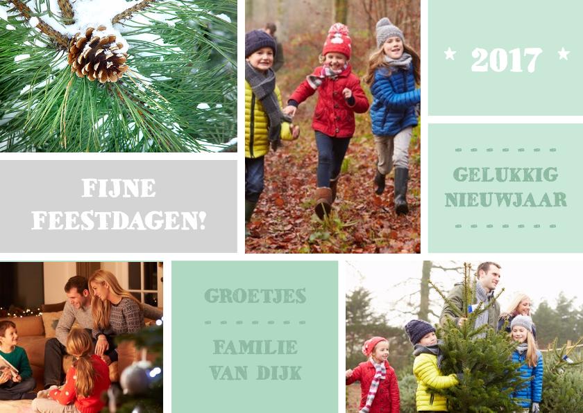 Kerstkaarten - Kerst modern blokken green - DH