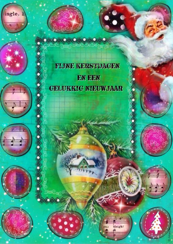 Kerstkaarten - Kerst Nieuwjaar mixed media