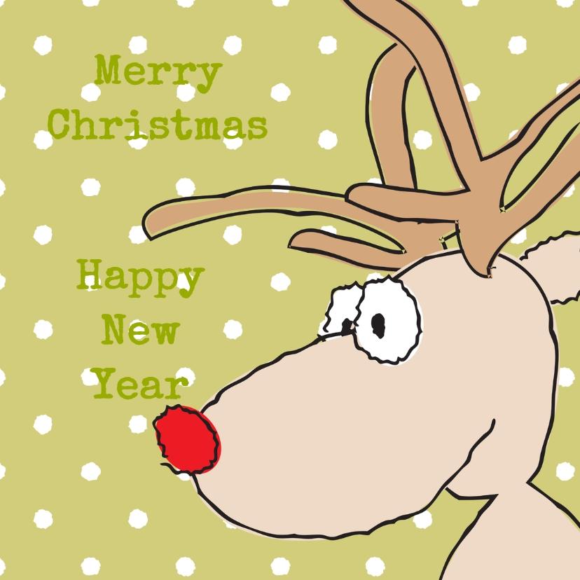 Kerstkaarten - kerst-nieuwjaarskaart hertje
