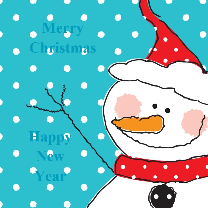 Kerstkaarten - kerst-nieuwjaarskaart sneeuwpop