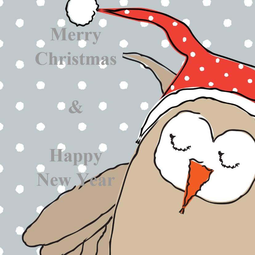Kerstkaarten - kerst-nieuwjaarskaart uil