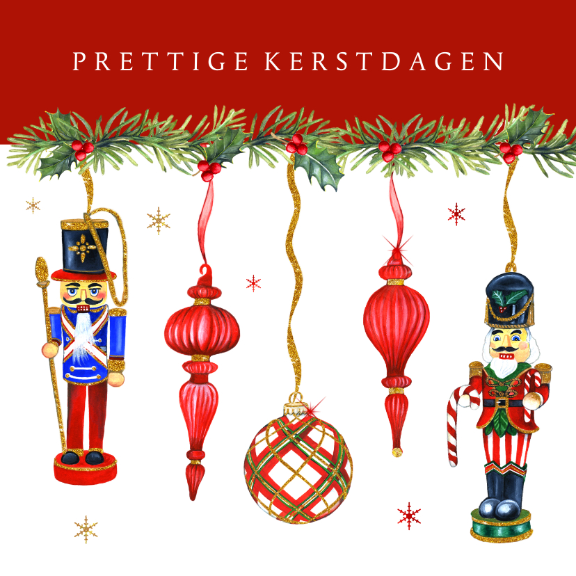 Kerstkaarten - Kerst notenkrakers en kerstballen