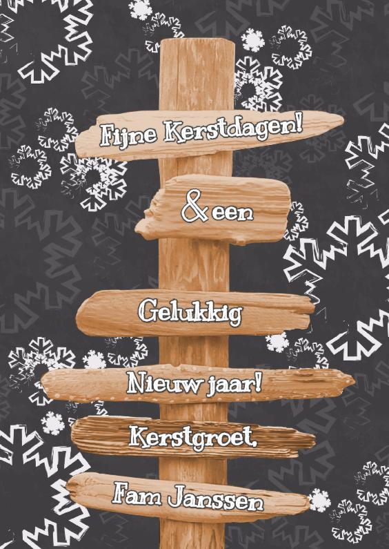 Kerstkaarten - KERST paal grijs sneeuwvlok S