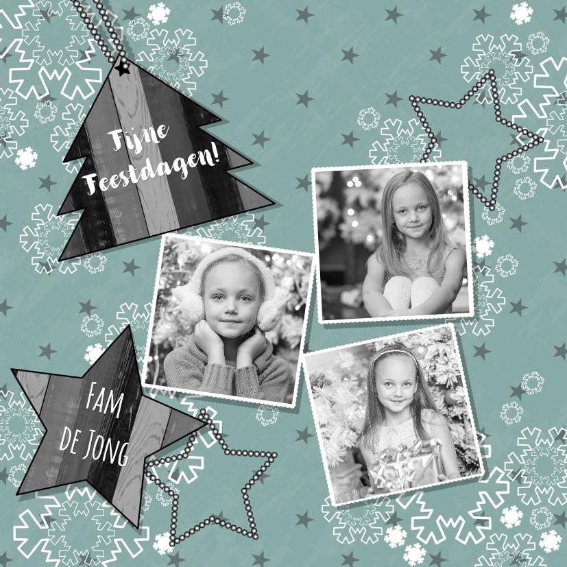 Kerstkaarten - Kerst pastelkleurige kerstkaart sneeuw sterren en 3  foto's
