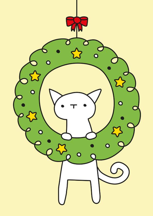 Kerstkaarten - Kerst Poezenkrans