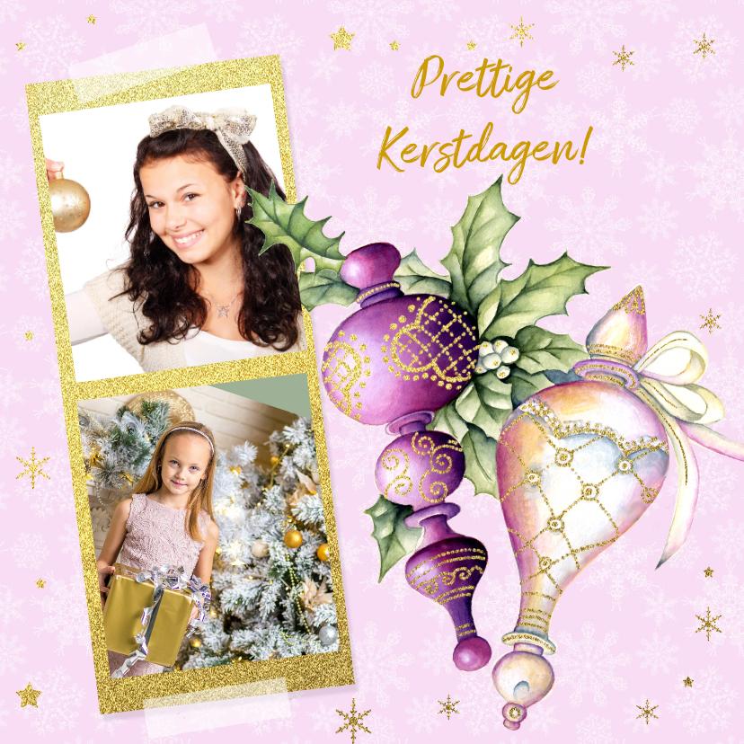 Kerstkaarten - Kerst purple kerstballen hulst