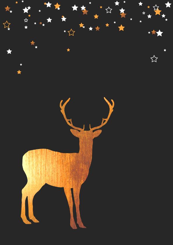 Kerstkaarten - Kerst - Rendier goud, sterren