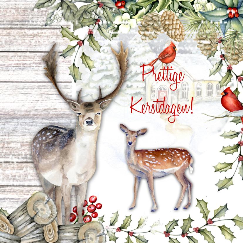 Kerstkaarten - Kerst rendieren sneeuw