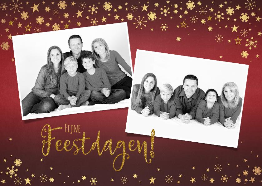 Kerstkaarten - Kerst rode foto kerstkaart met goudkleurige versiering