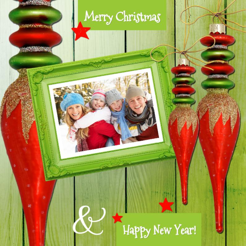 Kerstkaarten - Kerst rode kerstbal groen hout - SG