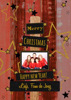 Kerstkaarten - Kerst rood vrolijk glitter