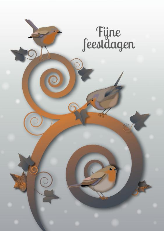 Kerstkaarten - Kerst - Roodborst Winter- MW