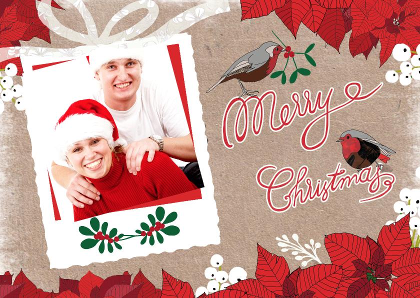 Kerstkaarten - kerst roodborstjes kerstster
