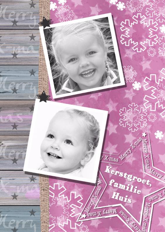 Kerstkaarten - KERST roze ster hout 2 foto's S