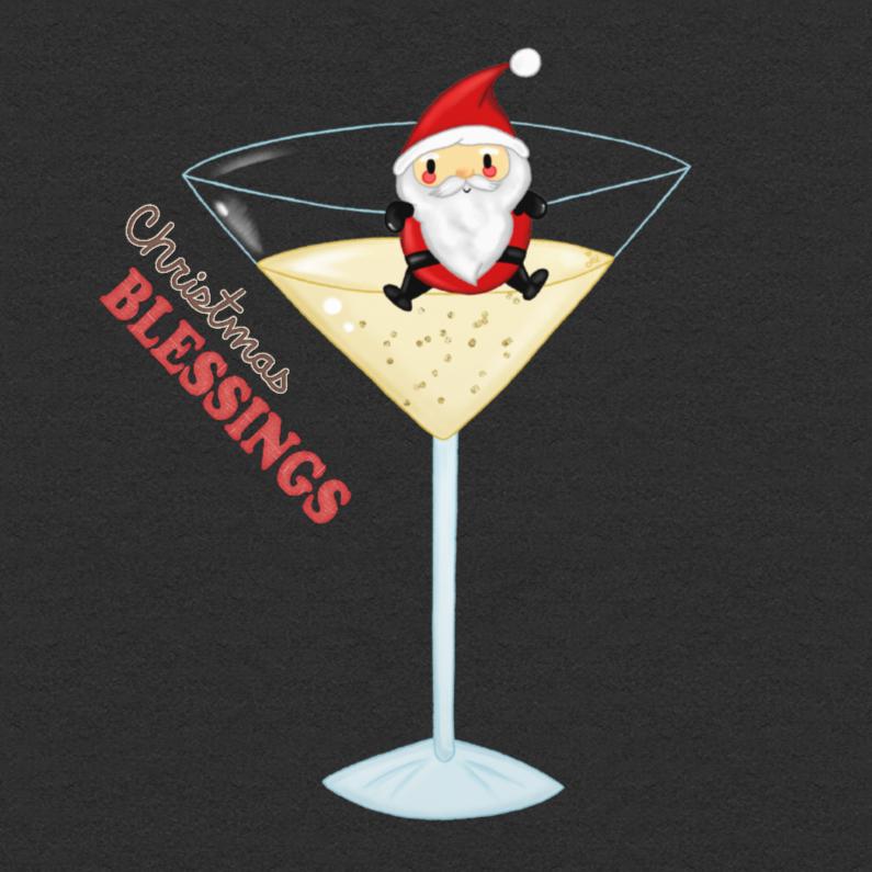 Kerstkaarten - Kerst Santa Champagne - TbJ