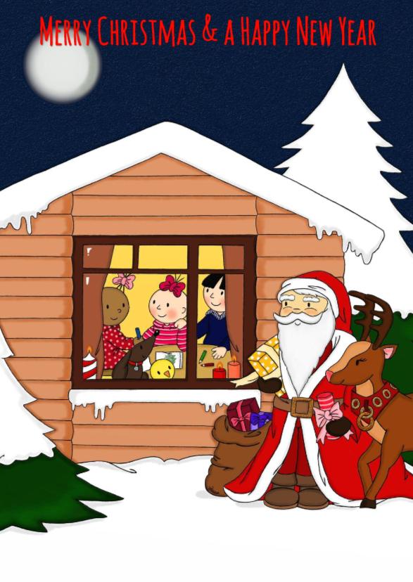 Kerstkaarten - Kerst Santa & WinterHuisje - TbJ