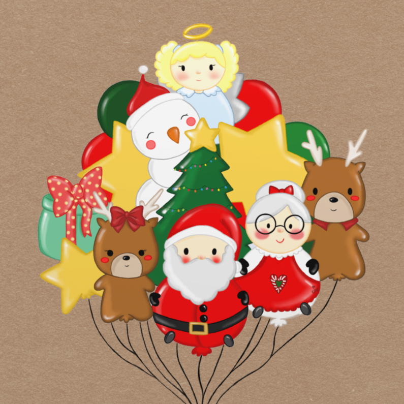 Kerstkaarten - Kerst Santa Squad Ballon - TbJ
