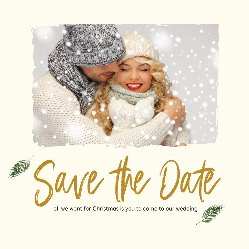 Kerstkaarten - Kerst Save-the-Date kaart met foto en takjes