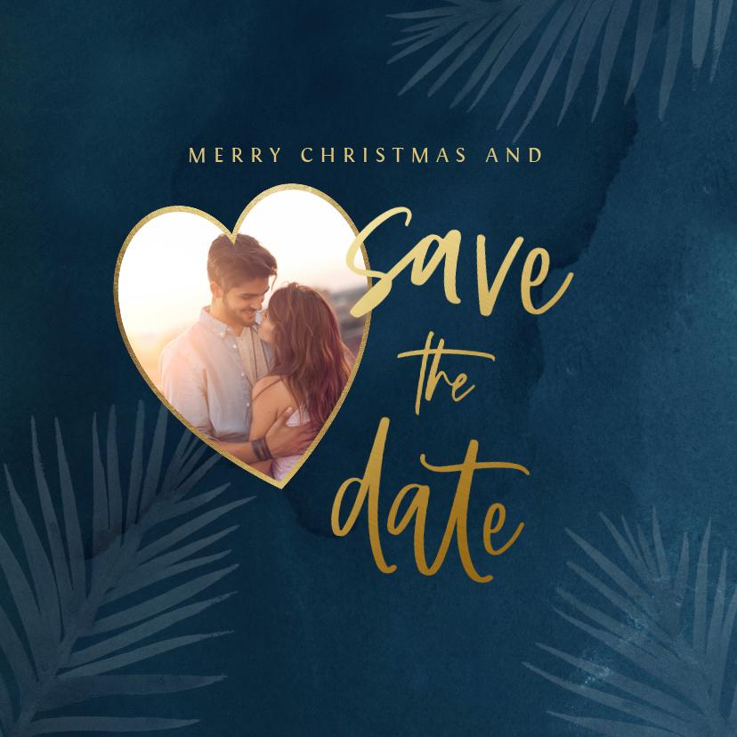 Kerstkaarten - Kerst save the datekaart met foto en kersttakjes