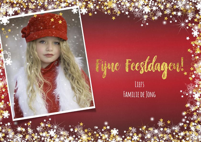 Kerstkaarten - Kerst sfeervolle rode fotokaart  met vele sterren