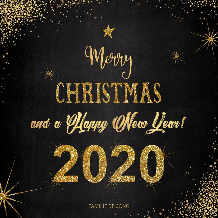 Kerstkaarten - Kerst sfeervolle  kaart met typografische gouden tekst 2020