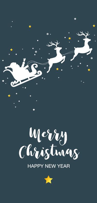 Kerstkaarten - Kerst - Silhouet rendieren met slede