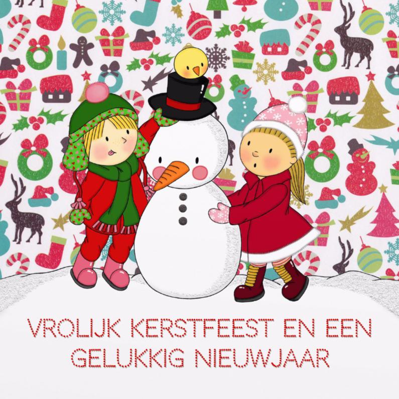 Kerstkaarten - Kerst Sneeuwman Meisjes - TbJ