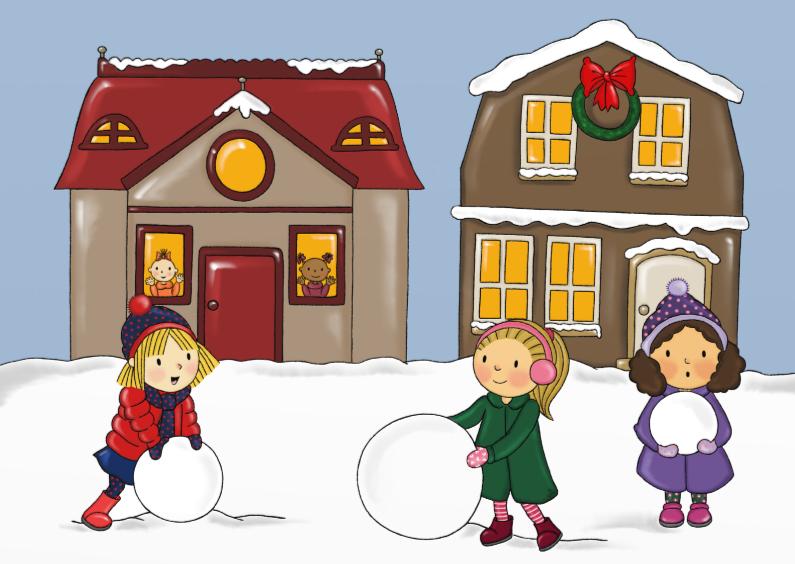 Kerstkaarten - Kerst Sneeuwpret straat - TbJ