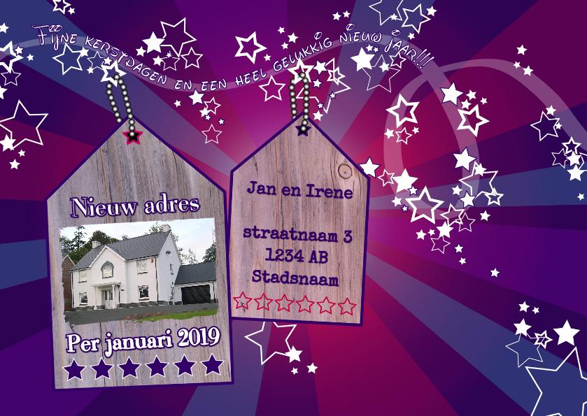 Kerstkaarten - Kerst sprookje sterren huisjes