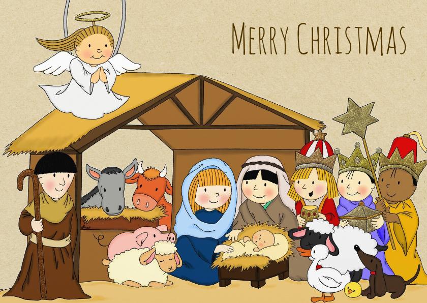 Kerstkaarten - Kerst Stal Kraftpapier - TbJ