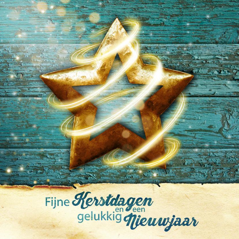 Kerstkaarten - kerst ster hout blauw YVON