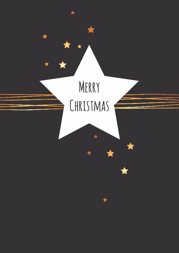 Kerstkaarten - Kerst - Ster met gouden lijnen