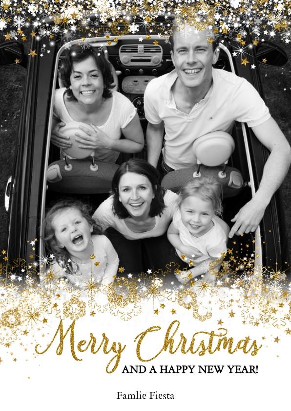 Kerstkaarten - Kerst stijlvol fotokader sneeuw, sterren en twinkelingen