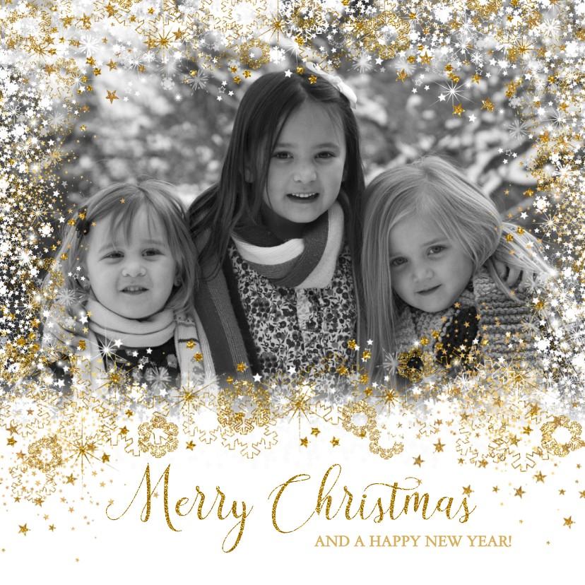 Kerstkaarten - Kerst stijlvol fotokader sterren, sneeuw en twinkelingen