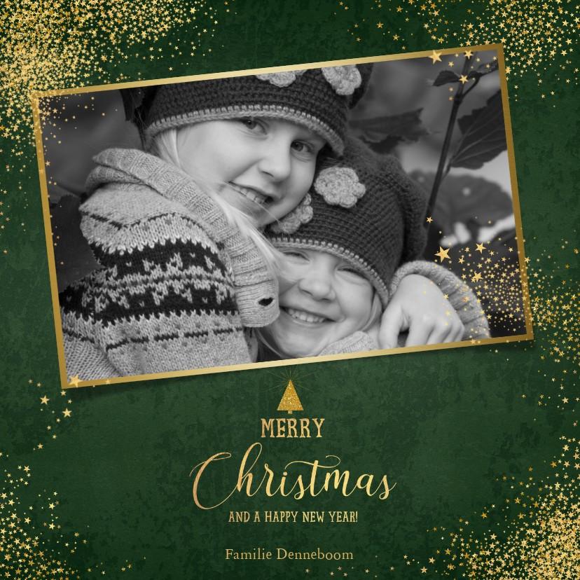 Kerstkaarten - Kerst stijlvolle donker groene foto kaart gouden sterretjes