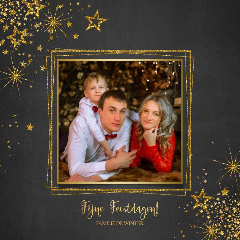 Kerstkaarten - Kerst stijlvolle donkere foto kaart gouden sterren