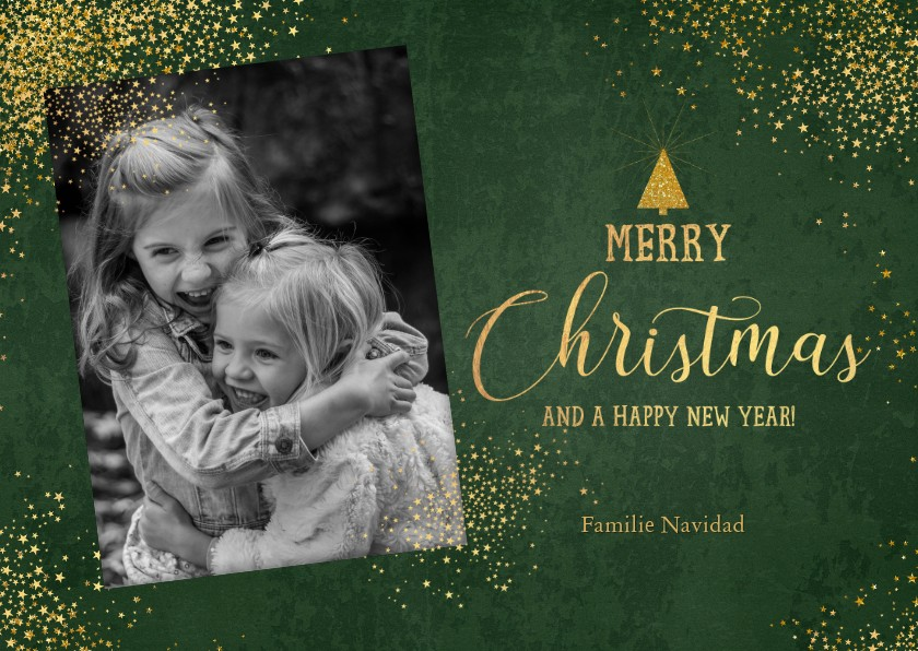 Kerstkaarten - Kerst stijlvolle donkergroene foto kaart gouden sterretjes