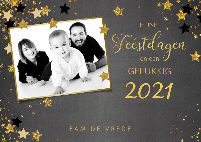 Kerstkaarten - Kerst stijlvolle foto kaart krijtbord met sterren 2020