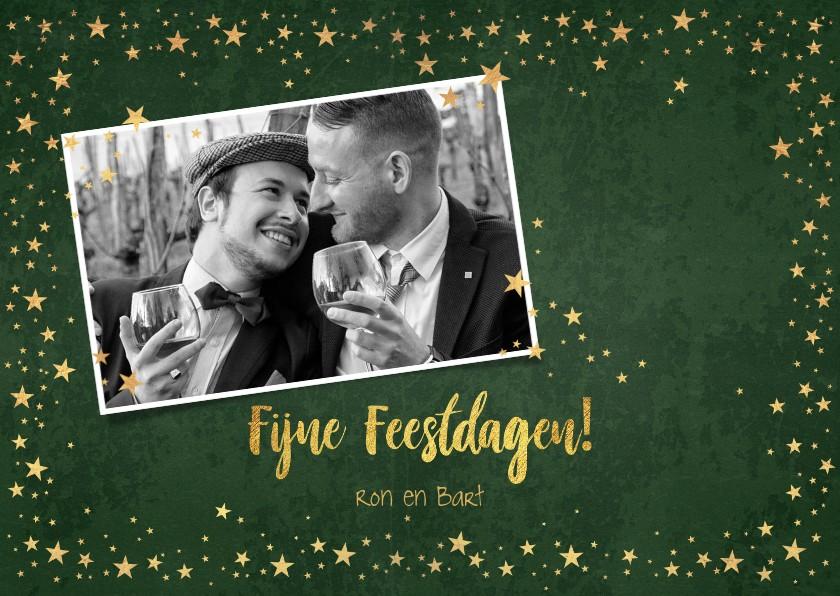 Kerstkaarten - Kerst stijlvolle groene fotokaart industrieel sterren goud